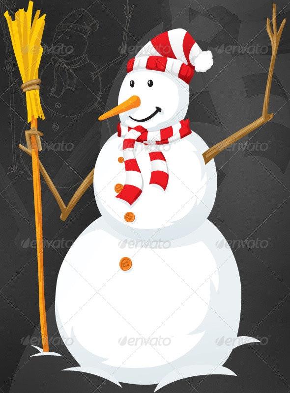 Snowman with a broom - Christmas Seasons/Holidays