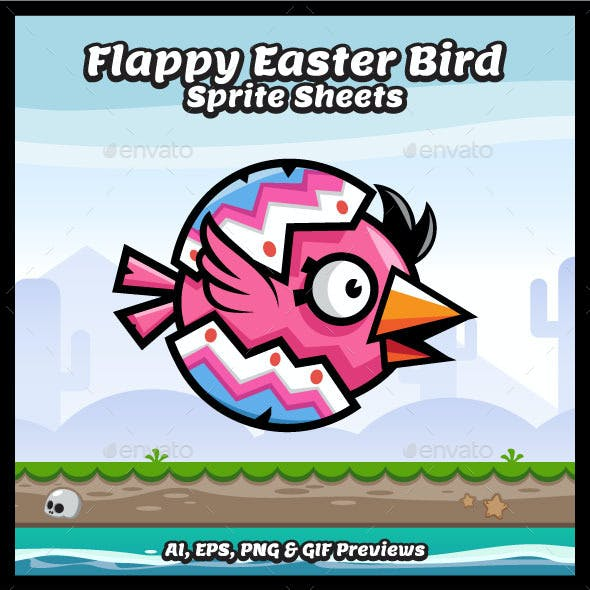 Flappy Easter Egg Bird Sprite Sheets Game Characte