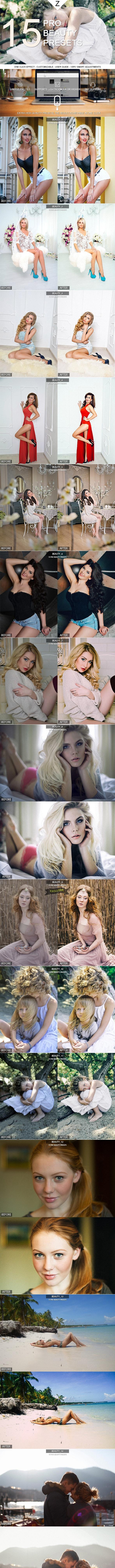 15 Pro Beauty Presets - Portrait Lightroom Presets
