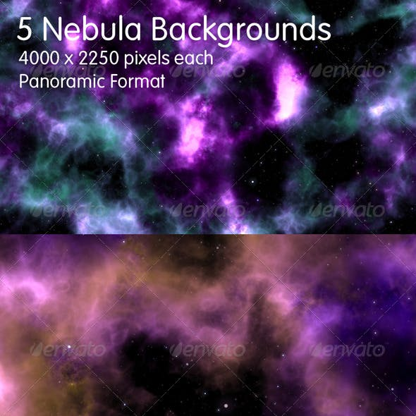 5 Nebula Backgrounds - Panoramic Format