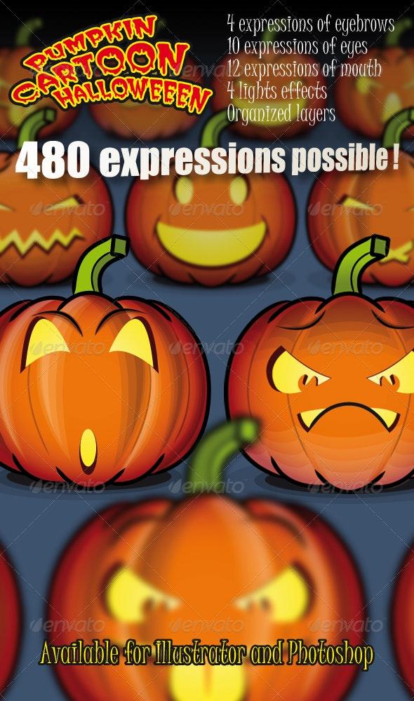 Pumpkin Cartoon of 480 Facial Expressions  - Monsters Characters