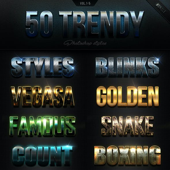 50 Trendy Photoshop Styles Bundle