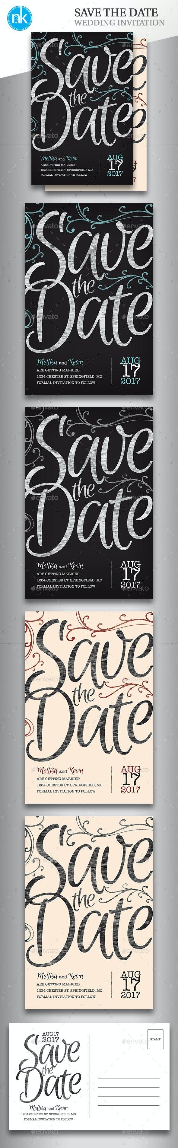 Save The Date Postcard - Chalkboard / Vintage - Weddings Cards & Invites
