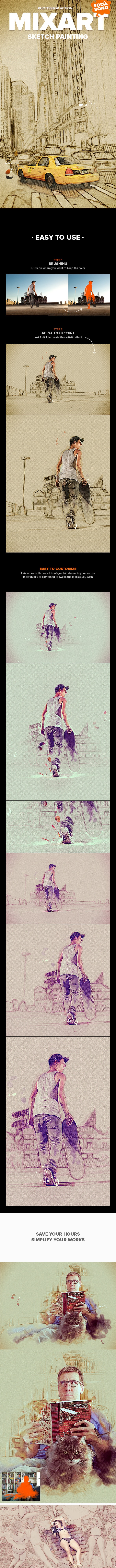 MixArt - Sketch Painting Photoshop Action - Photo Effects Actions