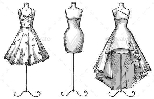 Mannequins with Dresses  - Objects Vectors