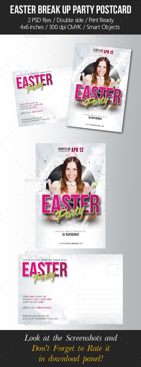 Easter Party Postcard Template - Cards & Invites Print Templates