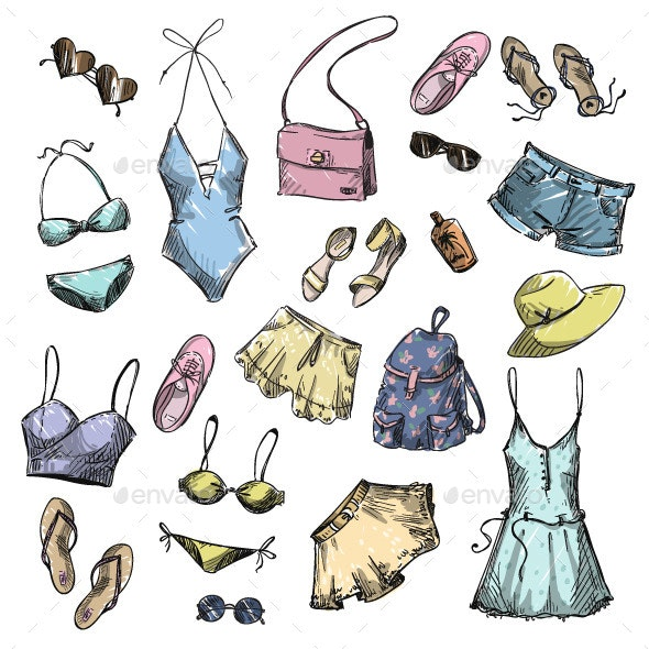 Collection of Summer Clothes  - Objects Vectors