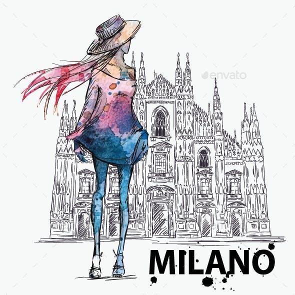 Girl on a Milano Duomo Background