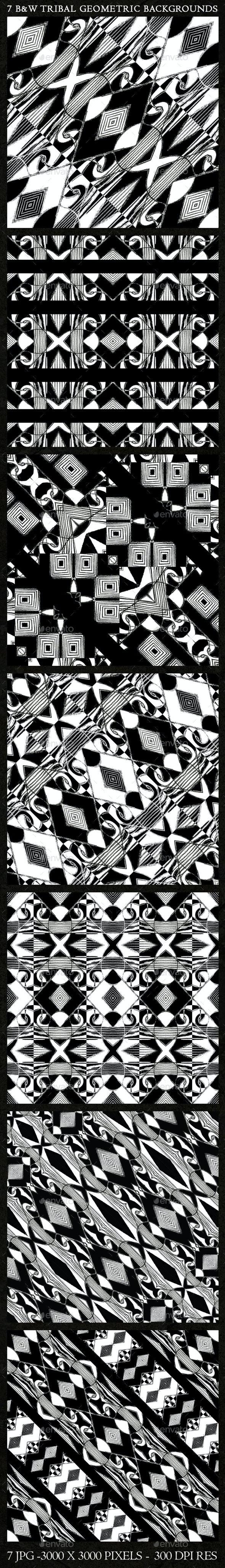 7 Black and White Tribal Geometric Backgrounds - Patterns Backgrounds