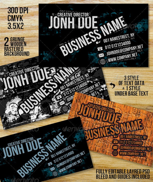 Grunge Plus Business Card - Grunge Business Cards