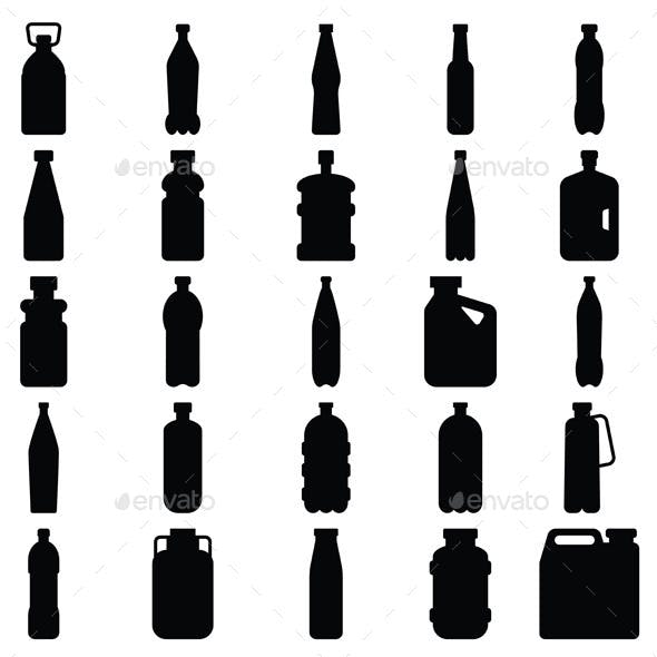 Set of Plastic Bottle Silhouettes