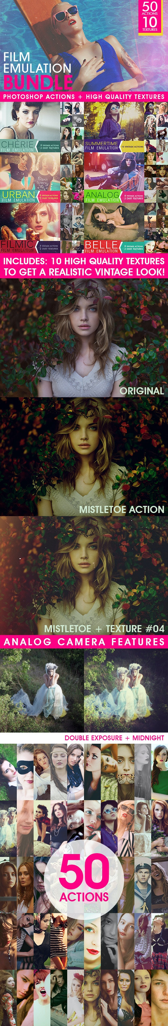 Film Emulation: Actions and Textures Bundle  - Photo Effects Actions