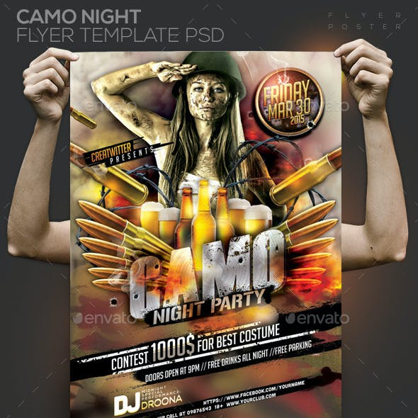 Camo Night Party Template PSD Flyer/Poster