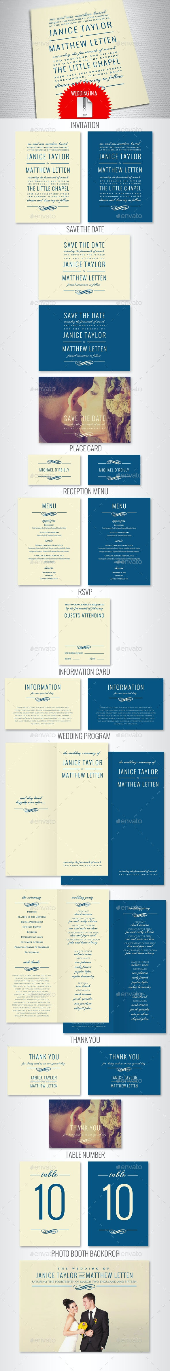 Elegant Wedding Invitation Set - Weddings Cards & Invites