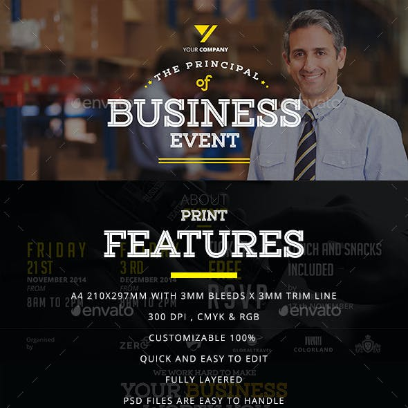 Business Event Flyer With Business Cards