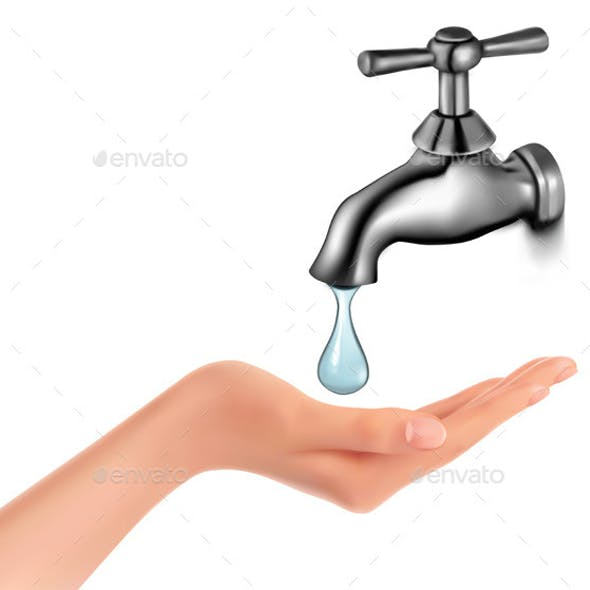 Water Tap with Drop and Hand