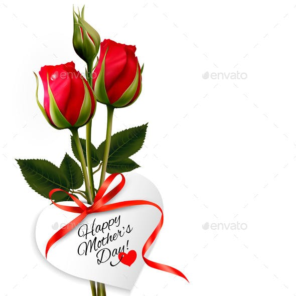Roses with Happy Mothers Day Gift Card
