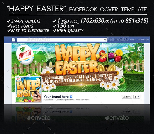 Happy Easter Facebook Cover Template - Facebook Timeline Covers Social Media