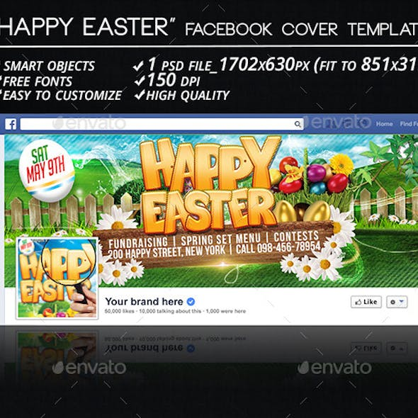 Happy Easter Facebook Cover Template