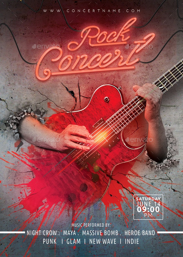 Rock concert flyer template - Events Flyers