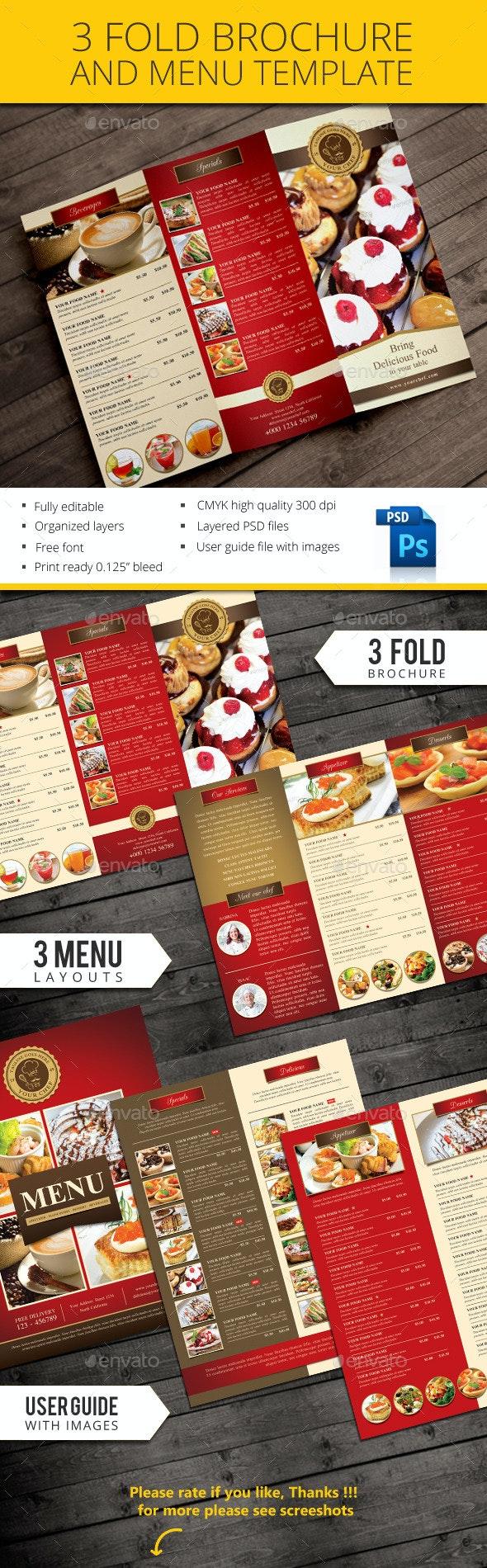 Trifold restaurant brochure and menu - Brochures Print Templates