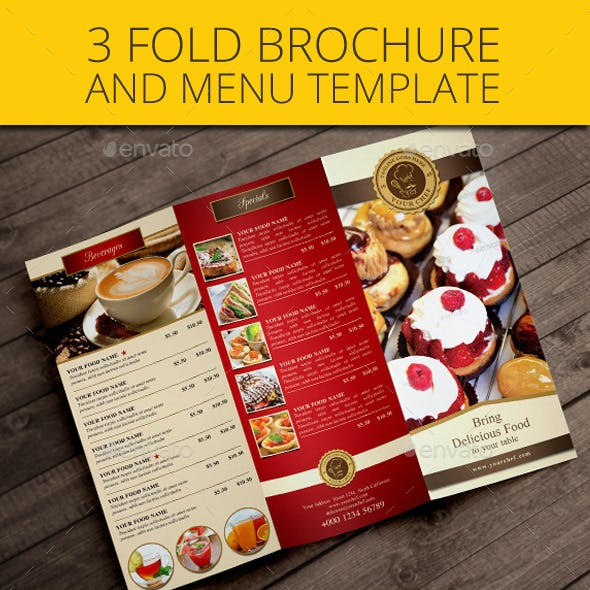Trifold restaurant brochure and menu