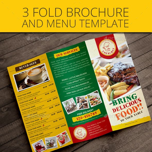 Rustic Trifold Restaurant Brochure and Menu