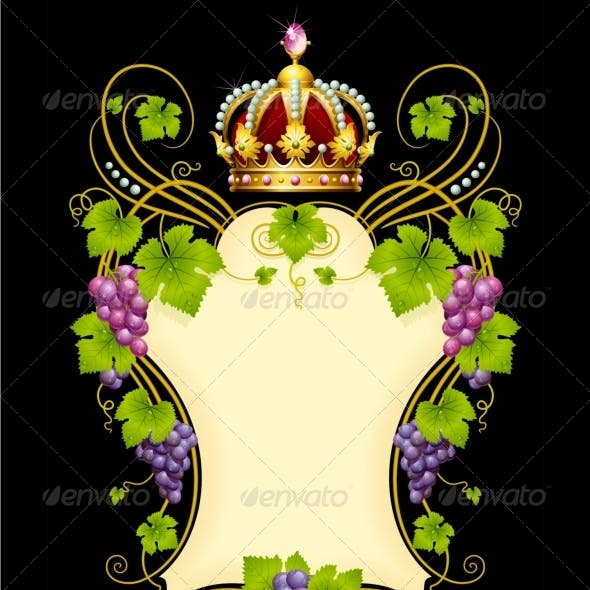 Vector grape frame with crown