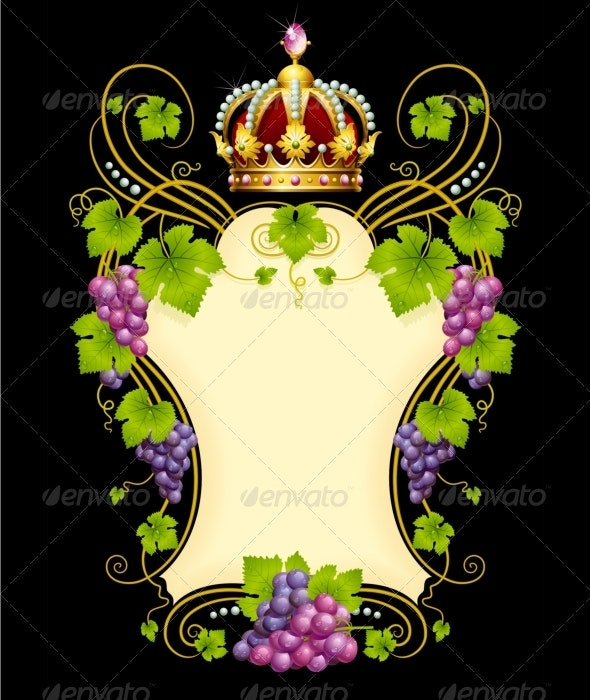Vector grape frame with crown - Borders Decorative
