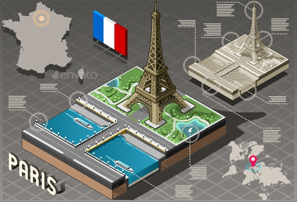 Isometric Infographic Tour Eiffel in Paris - Buildings Objects