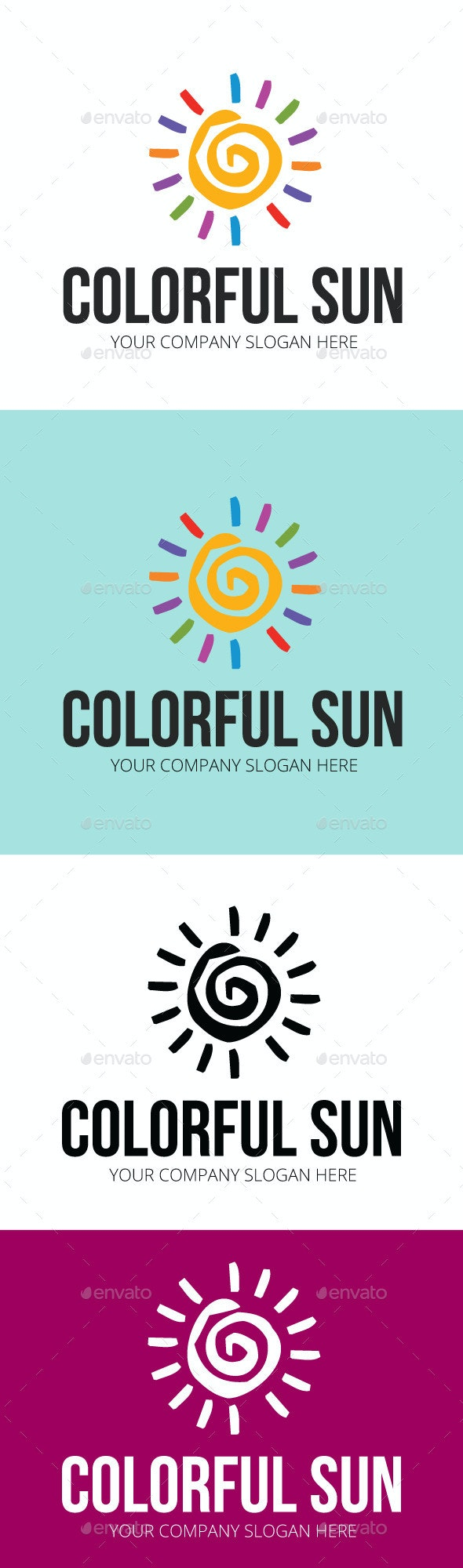 Colorful Sun Logo Template - Nature Logo Templates