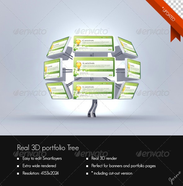 Real 3D Portfolio Tree - Website Displays