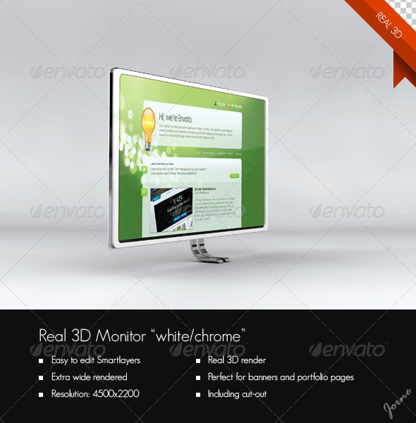Real 3D Monitor (Chrome/White) - Monitors Displays