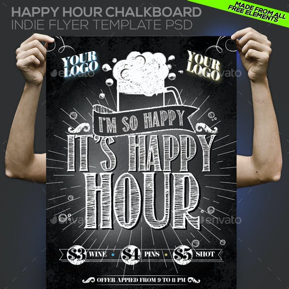 Happy Hour Chalkboard Indie Template PSD