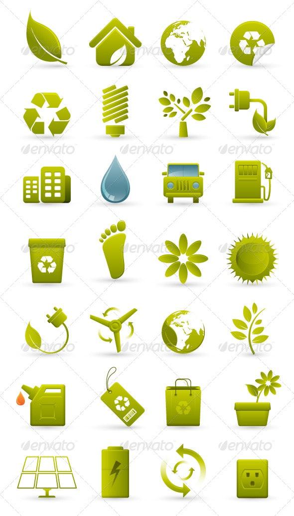 Environmental Green Icons - Web Technology