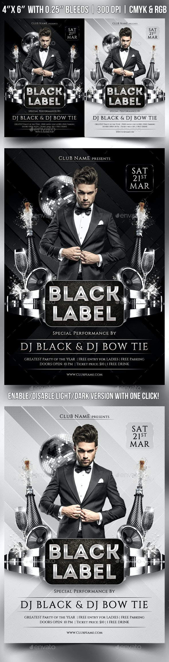 Black Label Flyer Template - Clubs & Parties Events