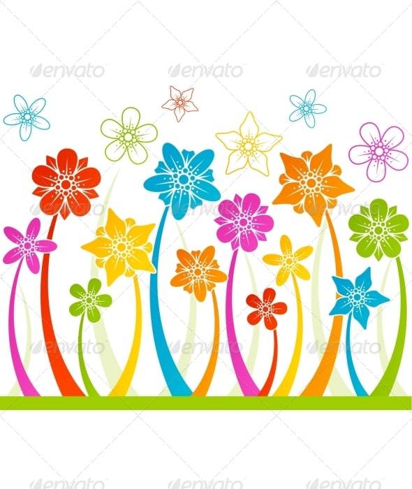 Floral horizontal seamless background - Flowers & Plants Nature