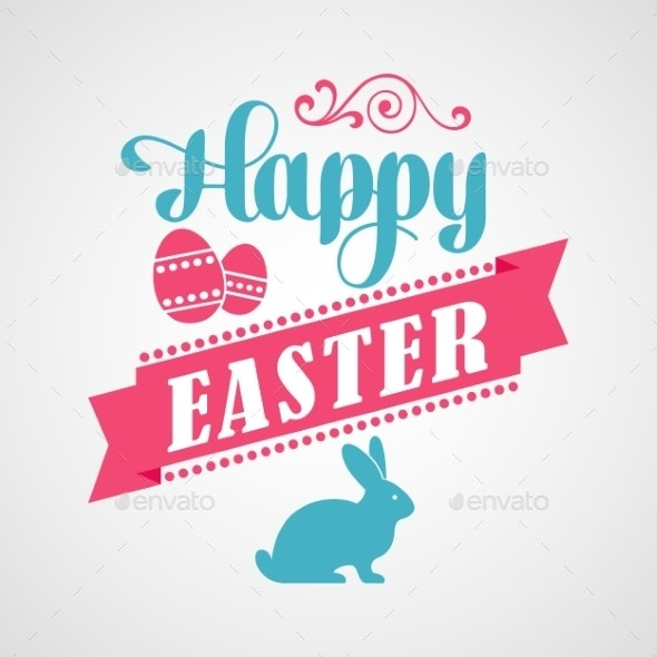 Happy Easter Typographical Background - Miscellaneous Seasons/Holidays