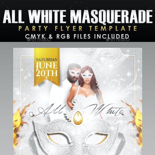 All White Masquerade Ball Flyer Template