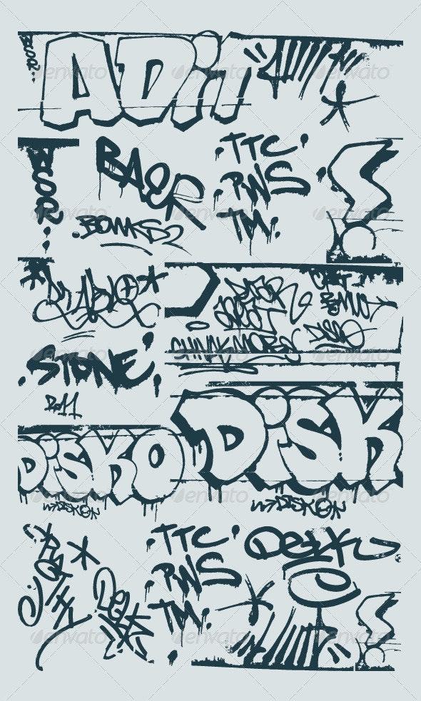 vector set grunge graffiti design elements