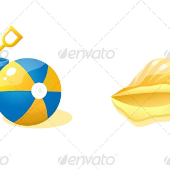 Ball, bucket and shell.