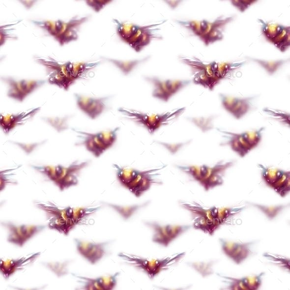 Seamless Pattern with Set of Bees