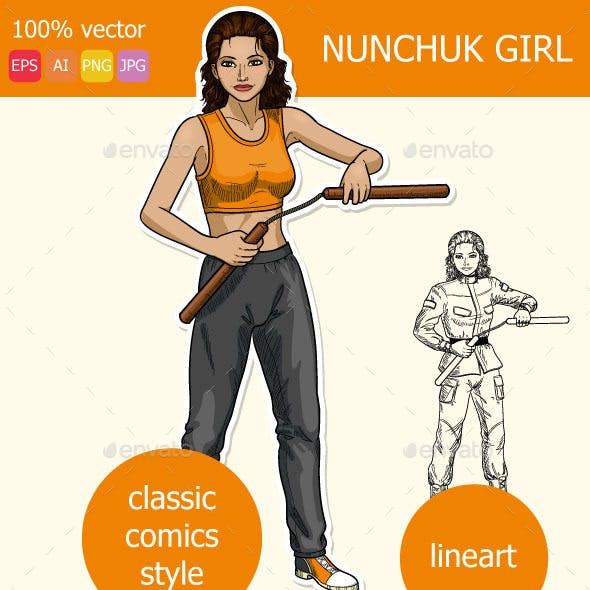 Indonesian Girl Armed with Nunchuck