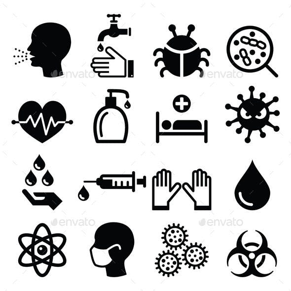 Infection, Virus and Health Icons Set