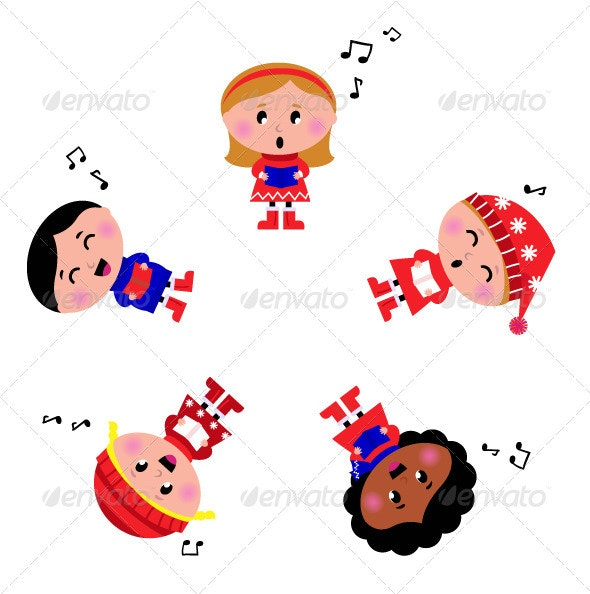 Winter cartoon kids singing Silent Night song - Christmas Seasons/Holidays