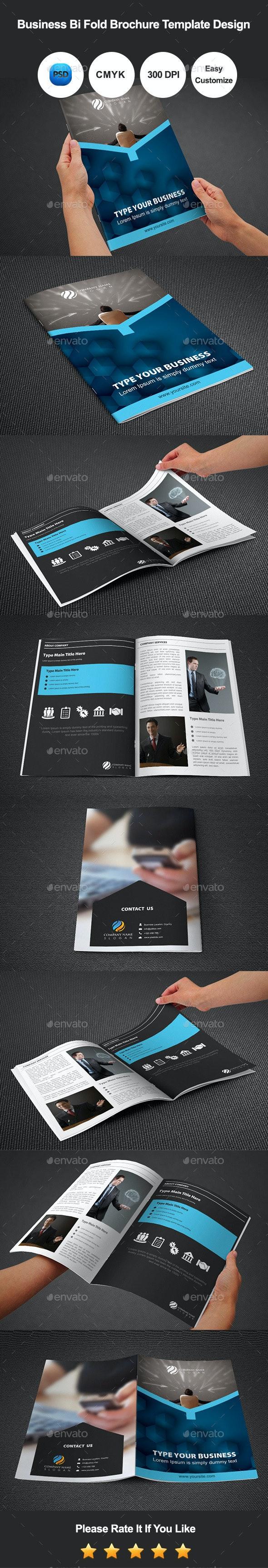 Business Bi Fold Brochure Template Design - Corporate Brochures