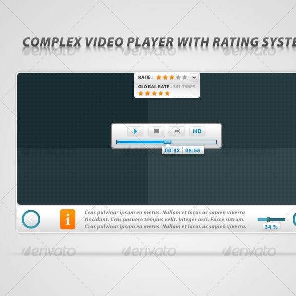 Complex video player with rating system
