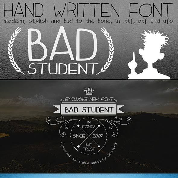 "Handwritten Font ""Bad Student"""