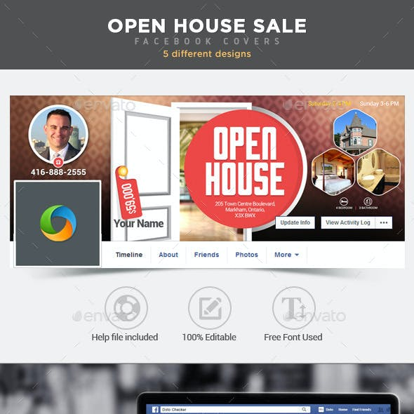 Real Estate Open House Facebook Covers - 5 Designs