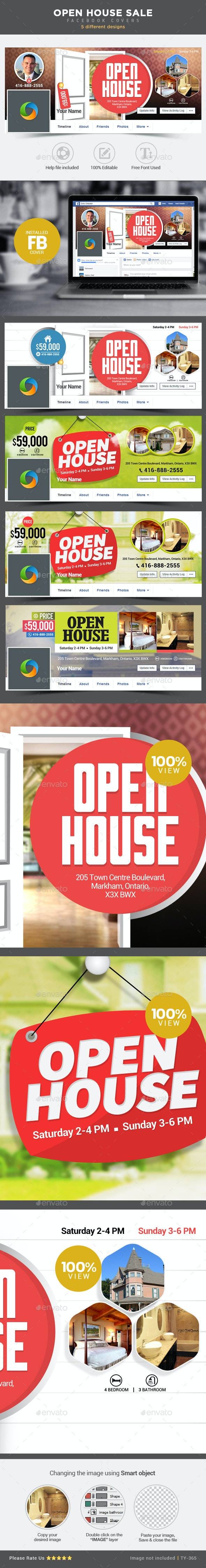 Real Estate Open House Facebook Covers - 5 Designs - Facebook Timeline Covers Social Media